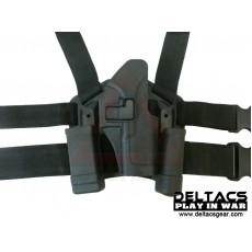 Deltacs CQC Drop leg Tactical Holster w/Magazine & Light Case for Glock - Black